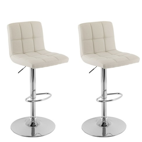 Corliving Set of 2 Mid Back Square Panel Barstool Oatmeal - image 1 of 8