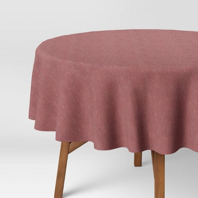 """70"""" Cotton Chambray Round Tablecloth Red - Threshold™"""