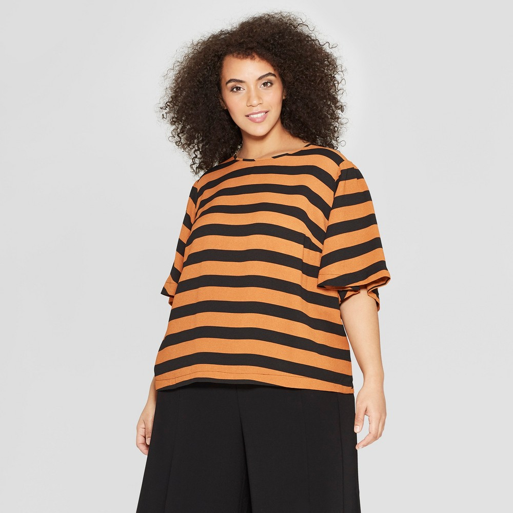 fc88f83fa2873e Womens Plus Size Striped 34 Sleeve Crew Neck Top Who What Wear BlackBrown X