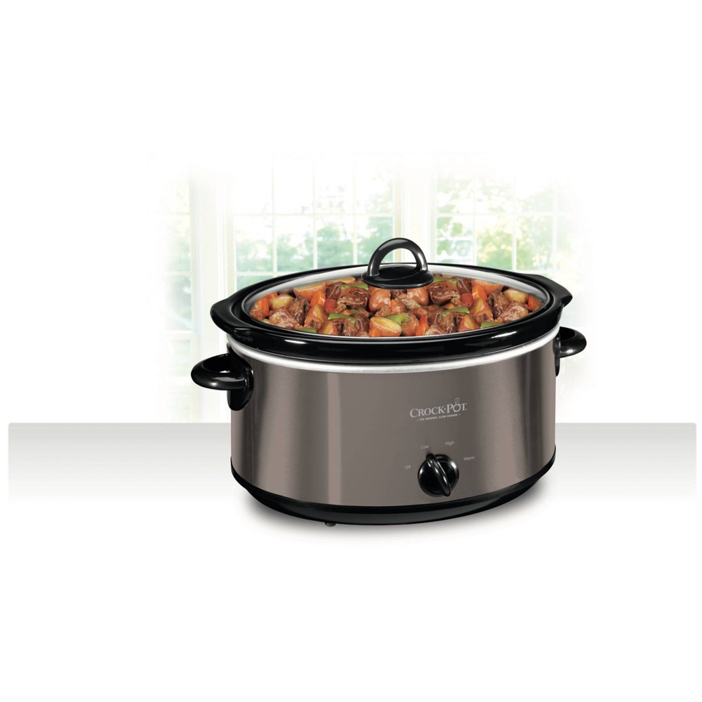 Crock Pot 6qt Manual Slow Cooker - Black/Stainless Steel, Silver