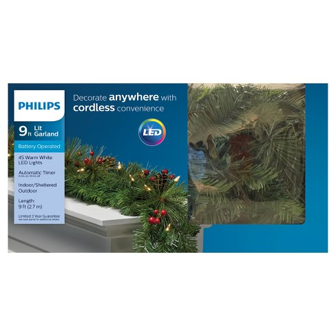 philips 9 christmas prelit white led decorated artificial pine garland target