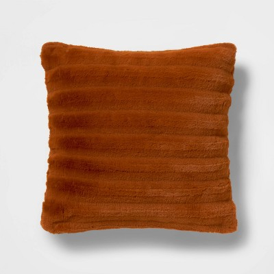 Square Channeled Faux Fur Throw Pillow Bronze - Project 62™ + Nate Berkus™