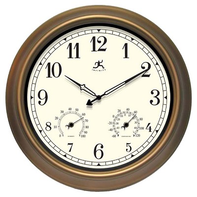 "18"" Craftsman Round Wall Clock/Thermometer Bronze - Infinity Instruments"