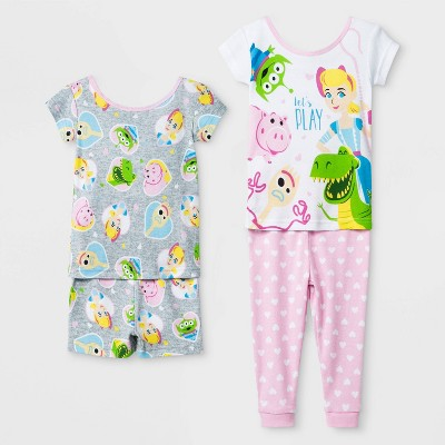 Baby Girls' Toy Story 4pc Pajama Set - White/Gray/Pink 12M