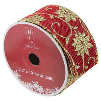 "Northlight Cranberry Red and Gold Poinsettia Christmas Wired Craft Ribbon 2.5"" x 10 Yards"