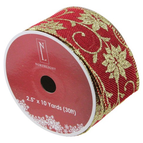 """Northlight Pack of 12 Cranberry Red and Gold Poinsettia Burlap Wired Christmas Craft Ribbon Spools - 2.5"""" x 120 Yards Total - image 1 of 2"""
