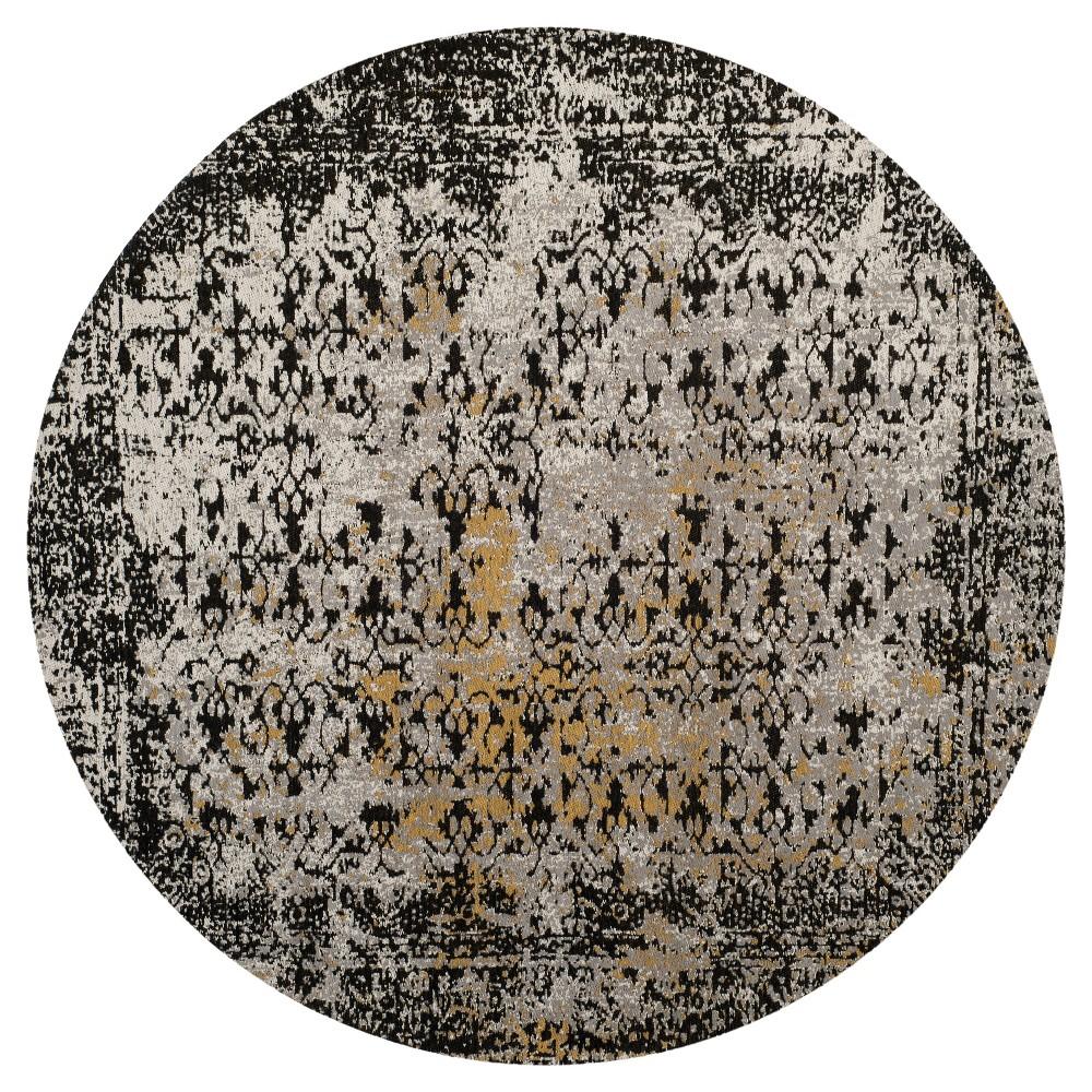 Black/Silver Multi Burst Loomed Round Area Rug 6' - Safavieh