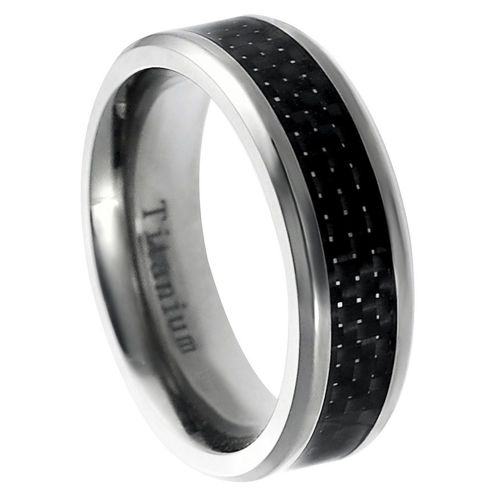 Men's Daxx Titanium Black Carbon Inlay Band - Black (7mm) (12), Size: 8, Silver
