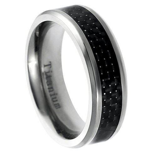 Men's Daxx Titanium Carbon Inlay Band - Black (7mm) - image 1 of 4