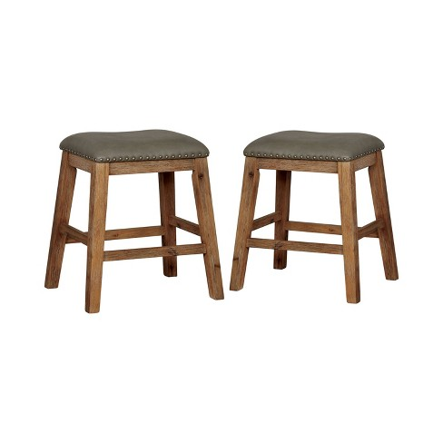 Super Set Of 2 Lilly Cushioned Wood Barstool Weathered Weathered Natural Tone Sun Pine Dailytribune Chair Design For Home Dailytribuneorg