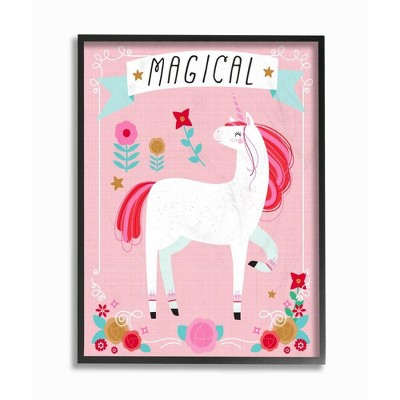 """11""""x1.5""""x14"""" Magical Colorful Unicorn Framed Giclee Texturized Art - Stupell Industries"""
