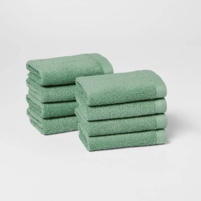 8pk Washcloth Set Green - Room Essentials™