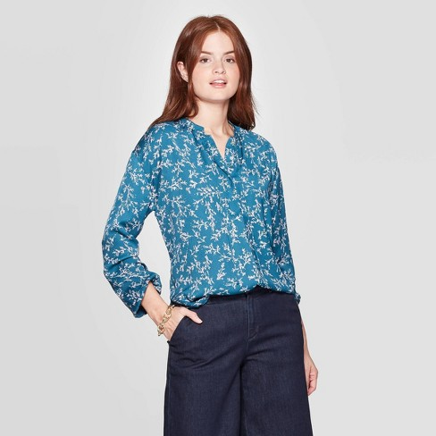 Women's Floral Print Regular Fit Long Sleeve V-Neck Popover Blouse - A New Day™ Blue XL - image 1 of 3