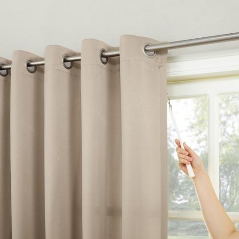 Seymour Extra Wide Energy Efficient Patio Door Curtain Panel Stone