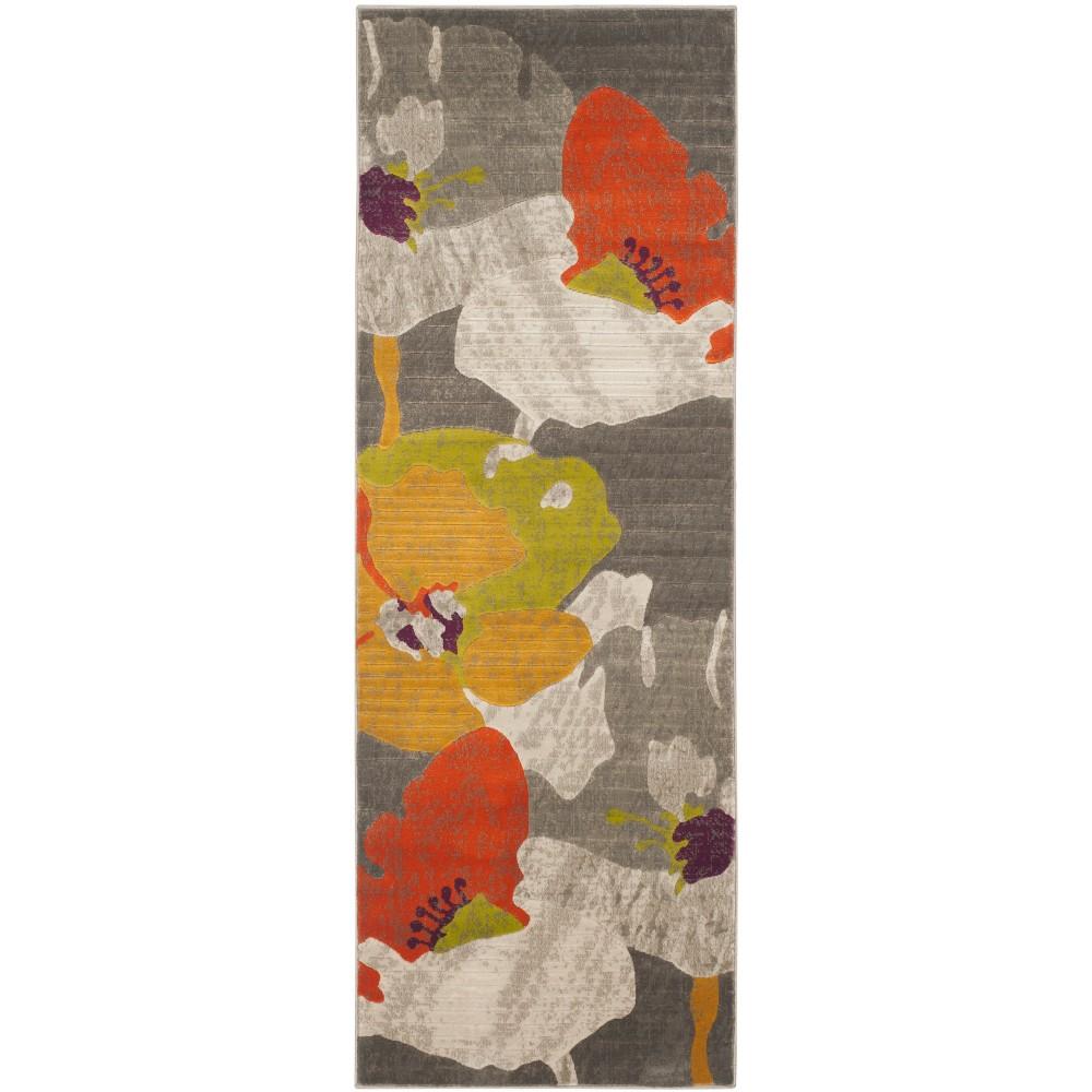 2'4X5' Loomed Floral Runner Rug Dark Gray - Safavieh