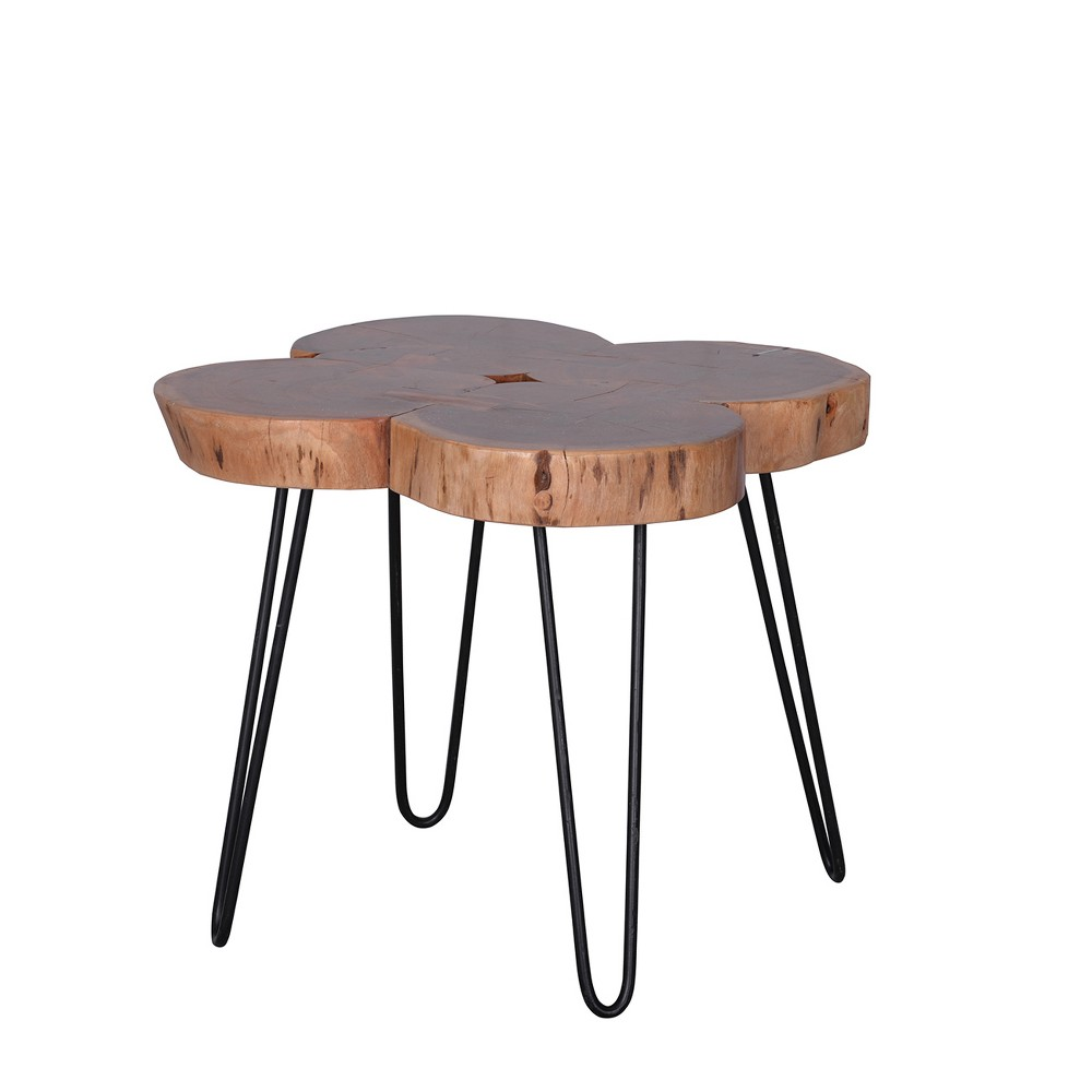 Image of Asthetic Solid Acacia Wood and Iron Coffee Table Brown/Black - A&b Home