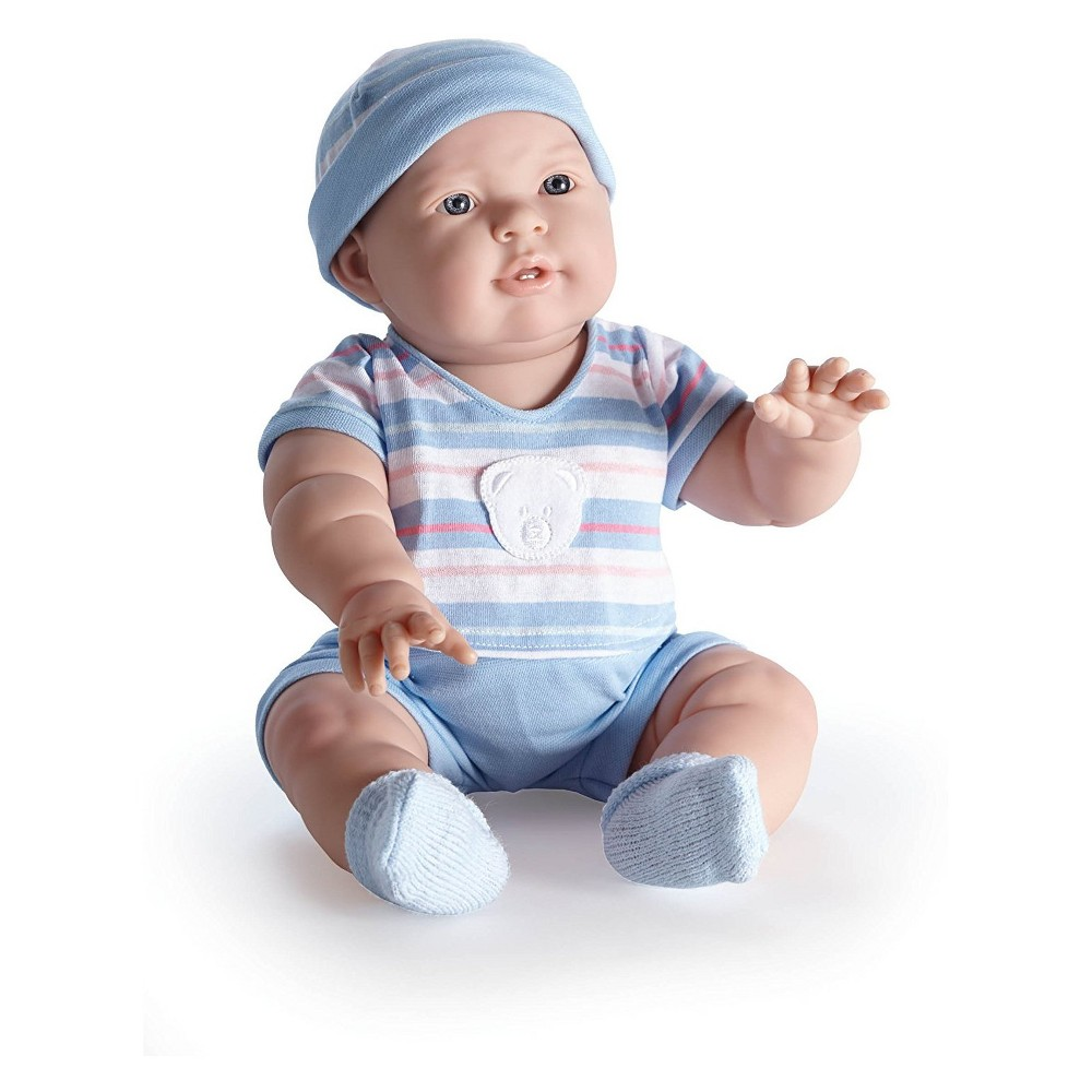 JC Toys Real Boy 18 Baby Doll - Lucas - All-Vinyl - Light Blue Striped Outfit