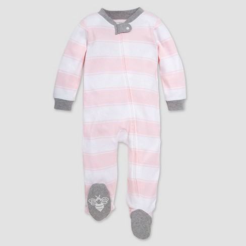 Burt's Bees Baby® Baby Girls' Rugby Stripped Organic Cotton Sleep N' Play - Pink - image 1 of 3
