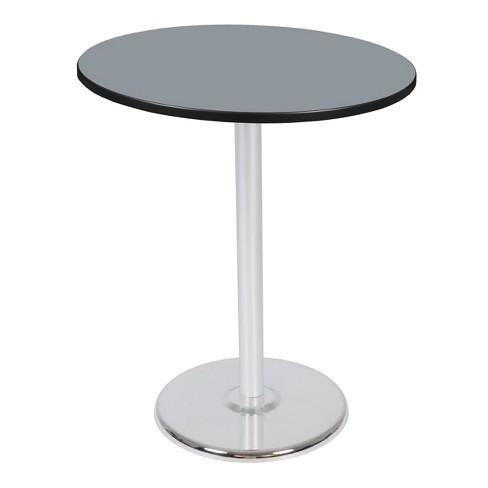 "36"" Via Cafe High Round Platter Base Table Gray/Chrome - Regency - image 1 of 3"