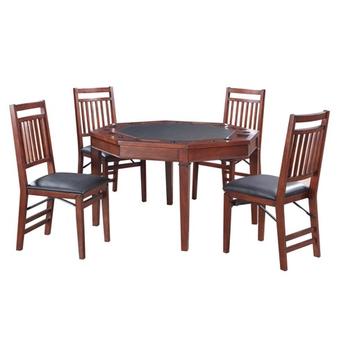 Hathaway Broadway 48-in Folding Poker Table & Chairs Set - Walnut - image 1 of 8