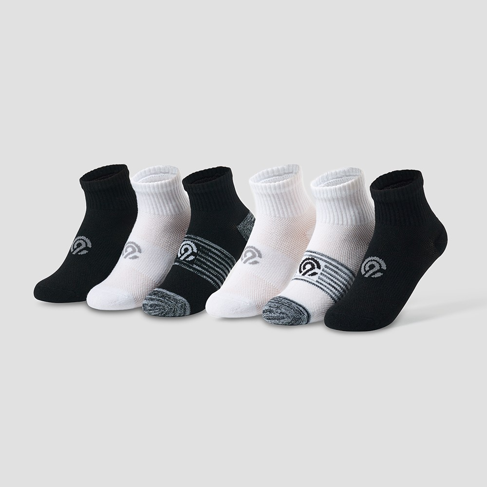 Girls' 6pk Ankle Socks - C9 Champion Black/White M