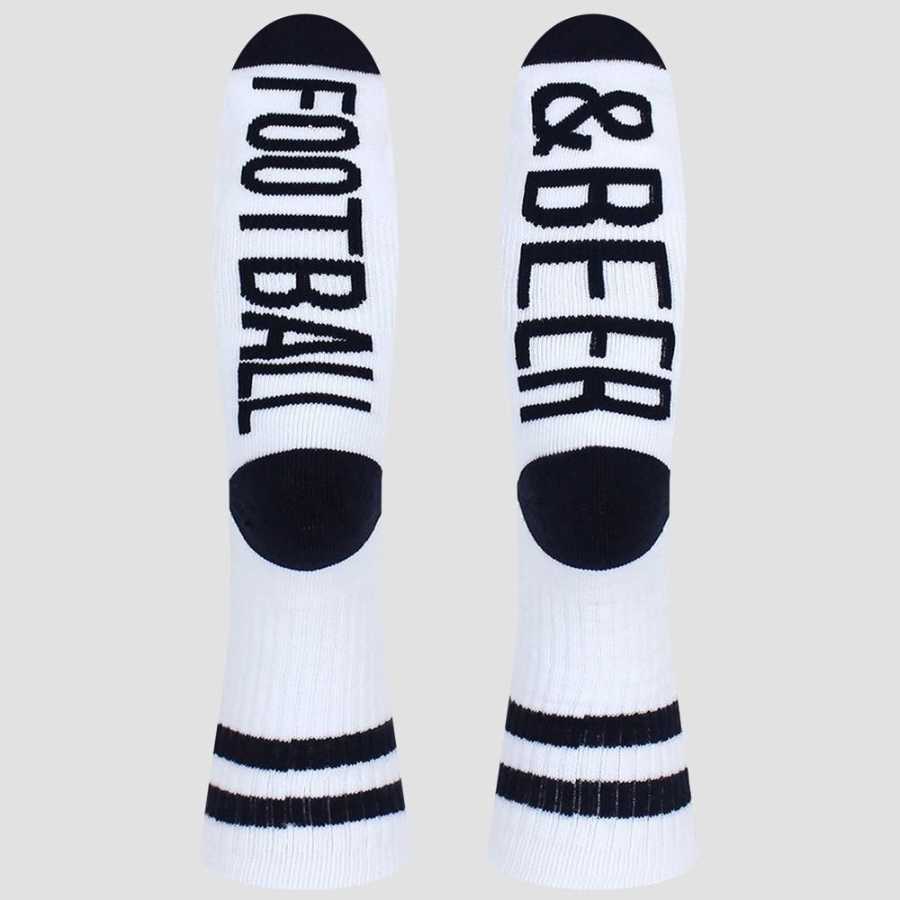 Image of Men's Sock Talk Football & Beer Crew Socks - White 7-12, Men's, Size: Small