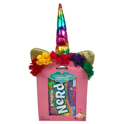 Maud Borup Valentines Day Unicorn Horn Headband with Rainbow Nerds