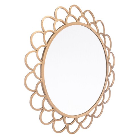 """ZM Home 19"""" Luxe Scallop Edged Mirror Gold - image 1 of 2"""