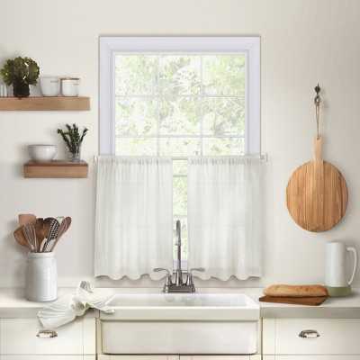 Cameron Linen Rod Pocket Kitchen Tier Window Curtain Set of 2 - Elrene Home Fashions