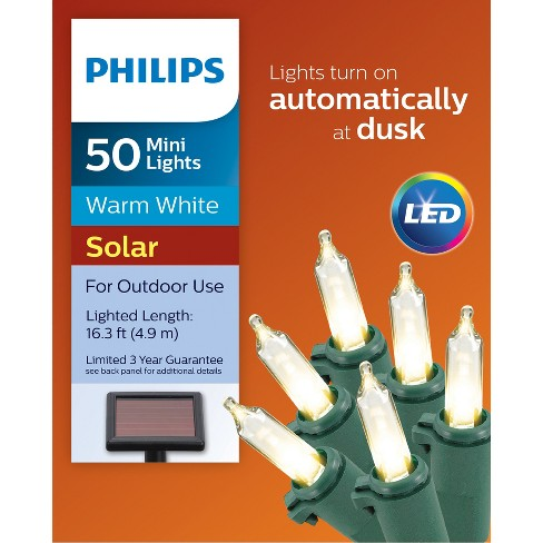 philips 50ct christmas solar led mini lights warm white gw target