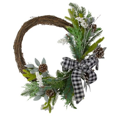 Northlight Plaid Bow and Winter Foliage Artificial Christmas Twig Wreath - 23-inch, Unlit