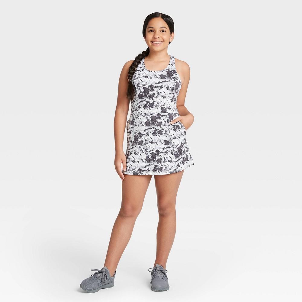 Image of Girls' Criss Cross Back Tennis Dress - All in Motion Gray M, Girl's, Size: Medium