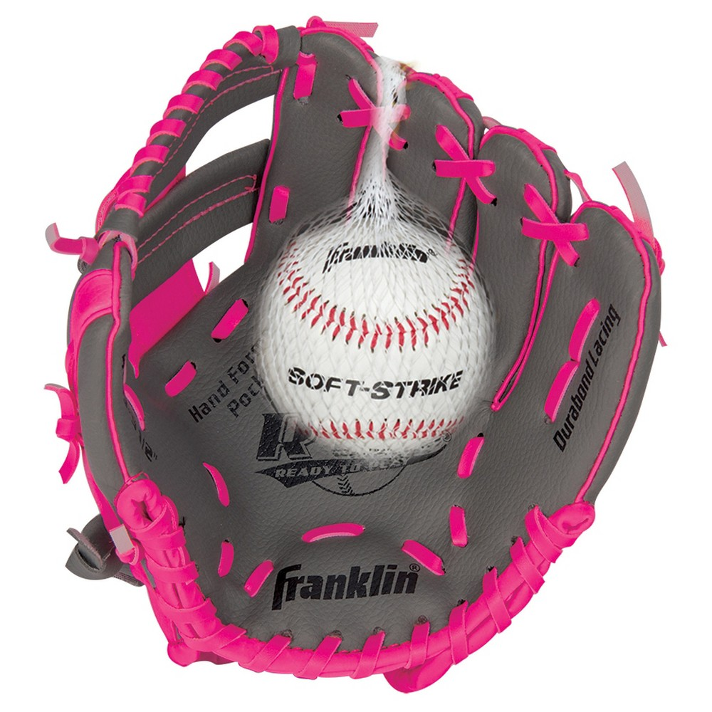 Franklin Sports 9.5 Rtp Teeball Performance Glove and Ball Combo Graphite/Pink-Right Handed Thrower, Pink