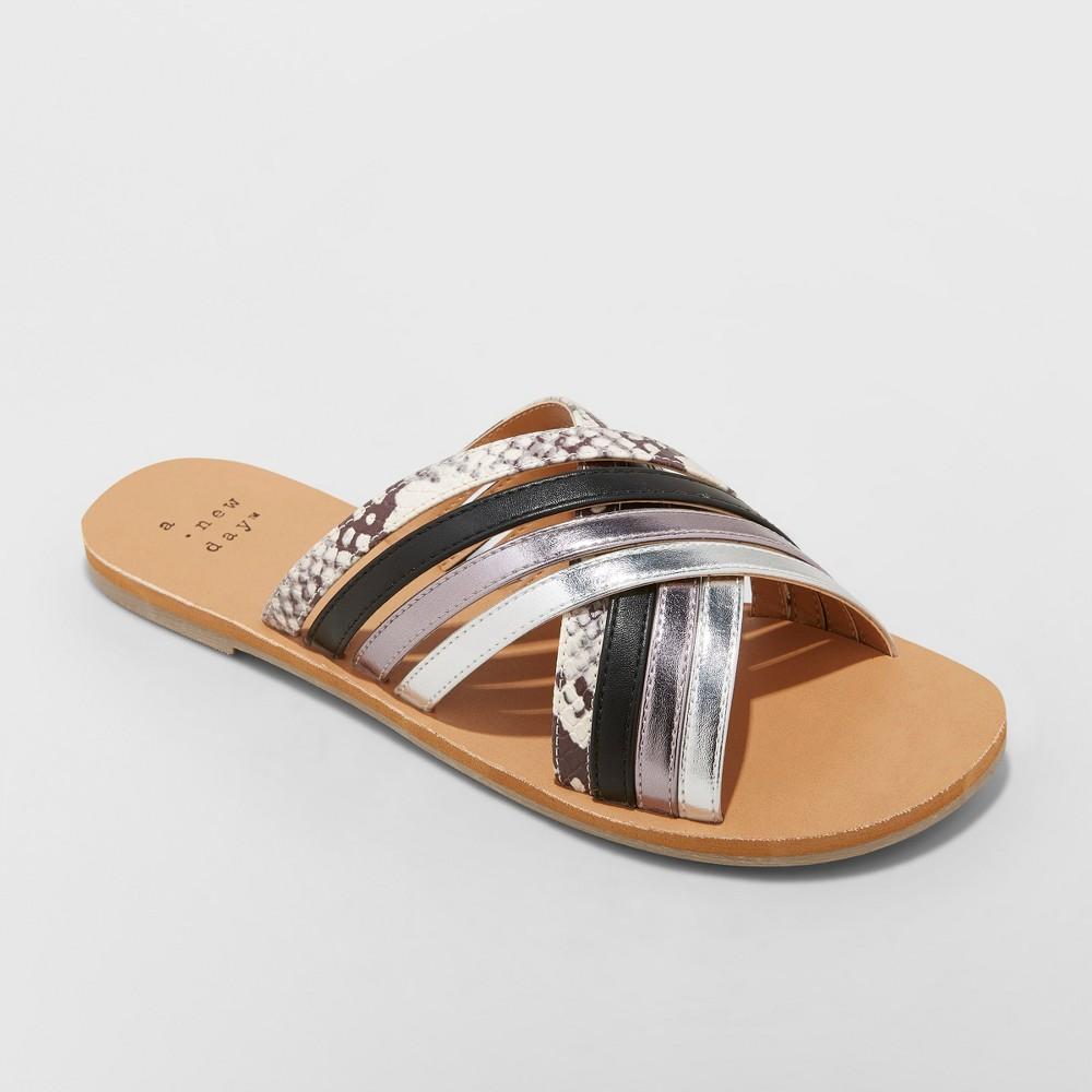 Women's Laila Snake Strappy Slide Sandal - A New Day Silver 6