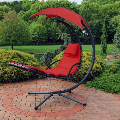 Hanging Chaise Lounge Chair with Canopy Umbrella - Red - Sunnydaze Decor