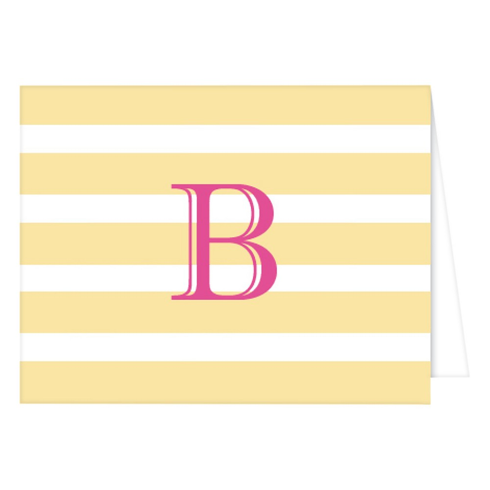 RosanneBECK Collections Pastel Yellow Folded Notes - Cabana Stripe Monogram - B