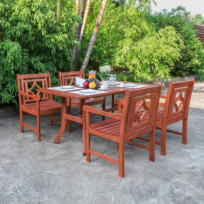 Malibu 5pc Wood Outdoor Patio Dining Set - Tan - Vifah