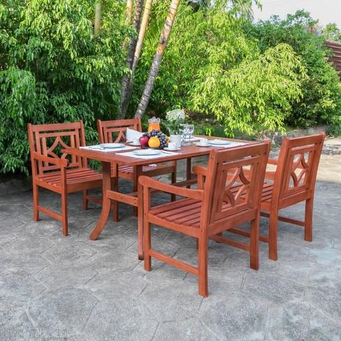 Vifah Patio Furniture.Malibu 5pc Wood Outdoor Patio Dining Set Tan Vifah