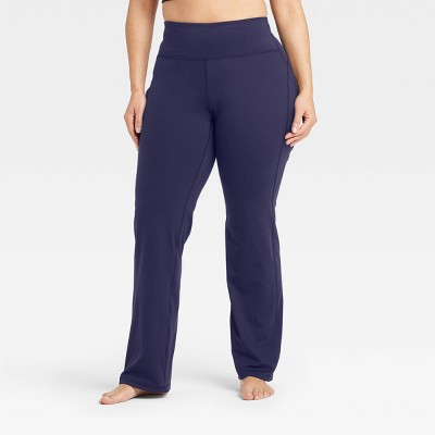 "Women's Contour Curvy High-Rise Straight Leg Pants with Power Waist 31.5"" - All in Motion™ Navy L"