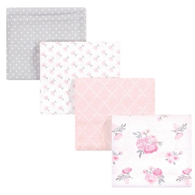 Hudson Baby Unisex Baby Cotton Flannel Receiving Blanket - Pink Floral One Size