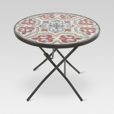 Glass Folding Round Patio Bistro Table - Medallion - Threshold™