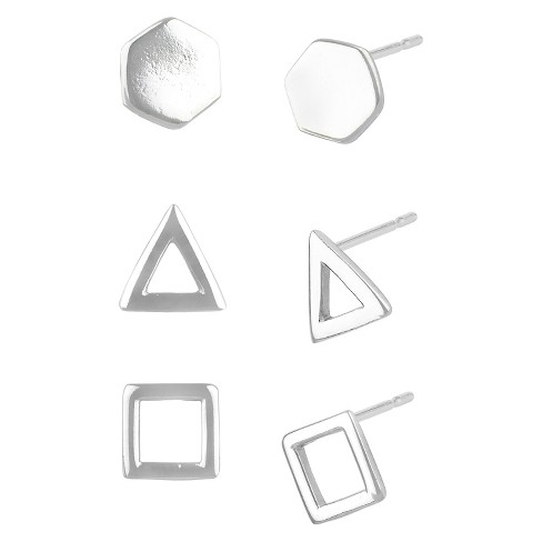 Women's Button Post Earring Silver Plated Brass Rhodium Three Pairs Triangle/Hexagon/Square - Silver - image 1 of 1