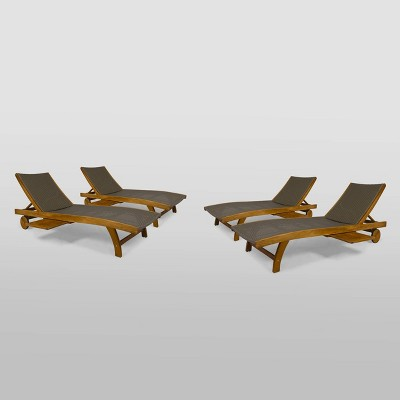 4pk Banzai Wicker / Wood Patio Chaise Lounge Chair Brown - Christopher Knight Home