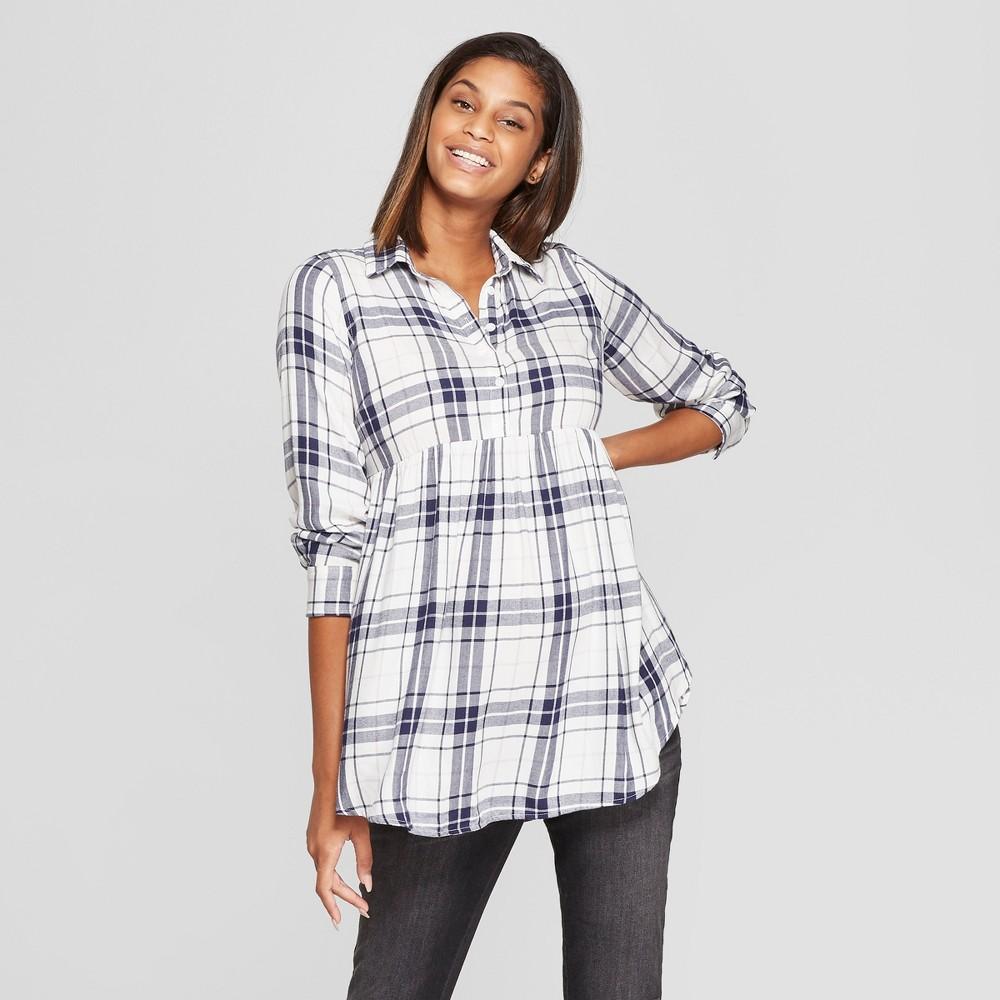 Maternity Long Sleeve Plaid Flannel Peplum Hem Shirt - Isabel Maternity by Ingrid & Isabel White XS, Women's