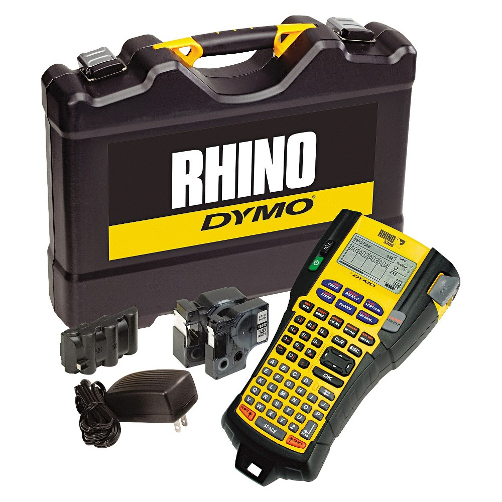 Dymo Rhino 5200 Industrial Label Maker Kit, 5 Lines, 6-1/10w x 11-2/9d x 3-1/2h, Brown