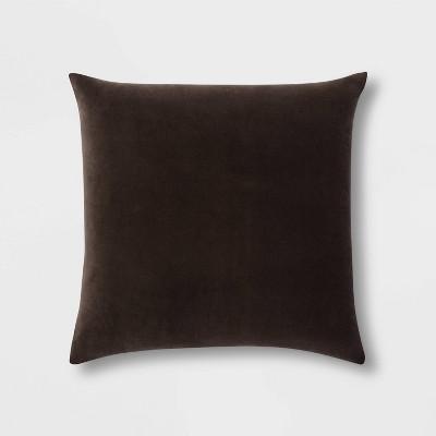 Velvet Oversize Square Pillow with Linen Reverse Brown - Threshold™