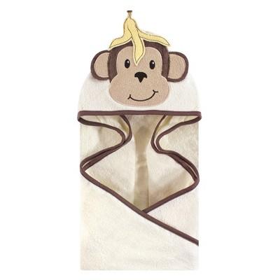 Hudson Baby Infant Cotton Animal Face Hooded Towel, Banana Monkey, One Size