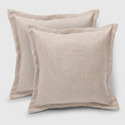 2pk Square Herringbone Outdoor Pillows Natural   Threshold™