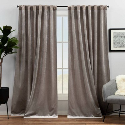 Set of 2 Velvet Heavyweight Hidden Tab Top Curtain Panels Taupe - Exclusive Home