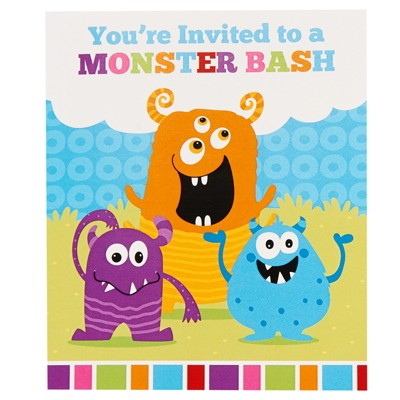 Birthday Express Monster Party Monster Invites - 8 Pack